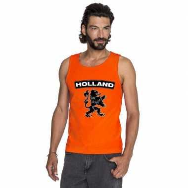 Oranje holland zwarte leeuw t shirt zonder mouw heren