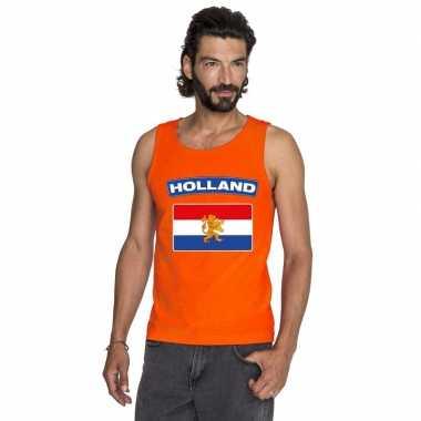Oranje hollandse vlag t shirt zonder mouw heren