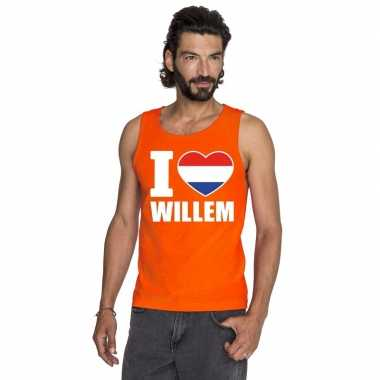 Oranje i love willem t shirt zonder mouw heren