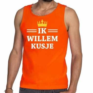 Oranje ik willem kusje t shirt zonder mouw / mouwloos shirt heren