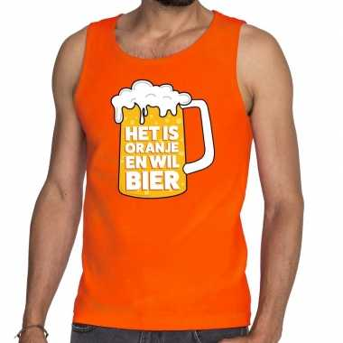 Oranje is oranje wil bier t shirt zonder mouw/mouwloos shirt heren