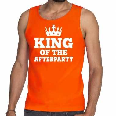 Oranje king of the afterparty t shirt zonder mouw / mouwloos shirt he