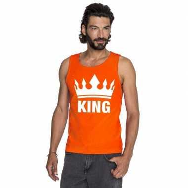 Oranje koningsdag king t shirt zonder mouw heren
