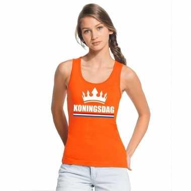 Oranje koningsdag kroon t shirt zonder mouw dames