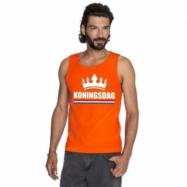 Oranje koningsdag kroon t shirt zonder mouw heren