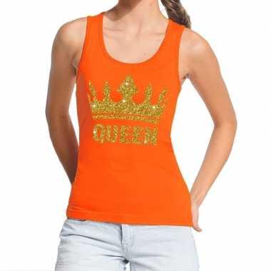 Oranje koningsdag queen t shirt zonder mouw gouden glitters dames