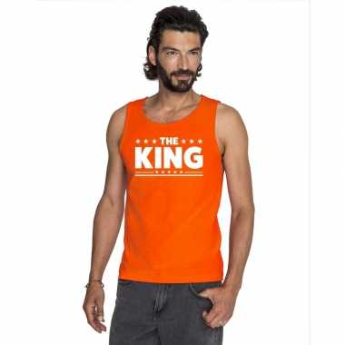 Oranje koningsdag the king t shirt zonder mouw heren