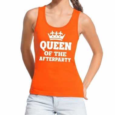 Oranje queen of the afterparty t shirt zonder mouw / mouwloos shirt d