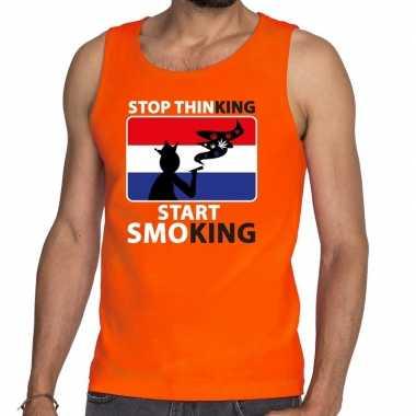 Oranje stop thinking start smoking t shirt zonder mouw / mouwloos shi