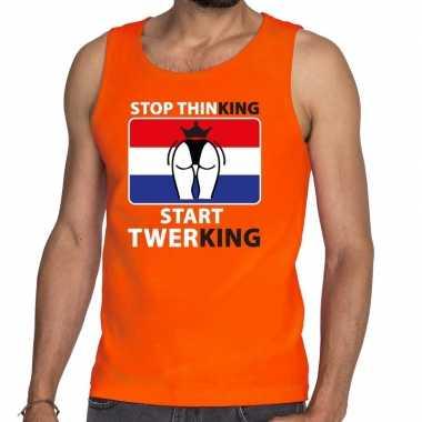 Oranje stop thinking start twerking t shirt zonder mouw / mouwloos sh