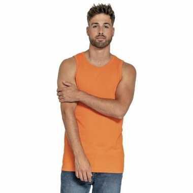 Oranje t shirt zonder mouw/singlet heren