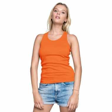 Oranje t shirt zonder mouw/singlet racerback dames