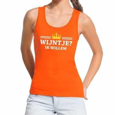 Oranje wijntje ik willem t shirt zonder mouw / mouwloos shirt dames