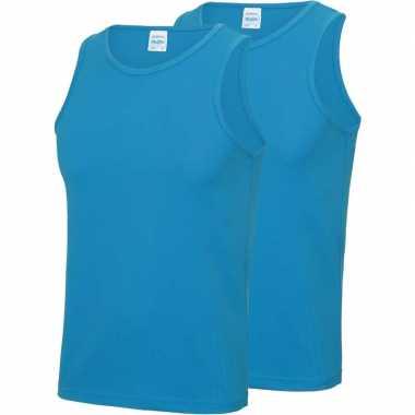 Pack maat l sport singlets/hemden blauw heren zonder mouw