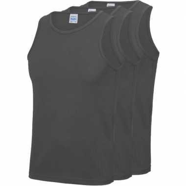Pack maat l sport singlets/hemden grijs heren zonder mouw
