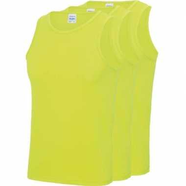 Pack maat l sport singlets/hemden neon geel heren zonder mouw