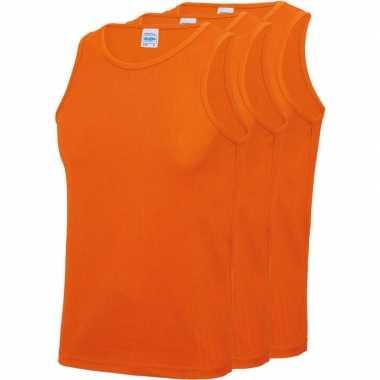 Pack maat l sport singlets/hemden oranje heren zonder mouw