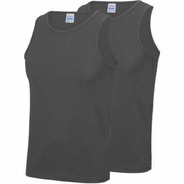 Pack maat m sport singlets/hemden grijs heren zonder mouw