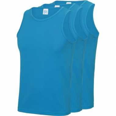 Pack maat s sport singlets/hemden blauw heren zonder mouw
