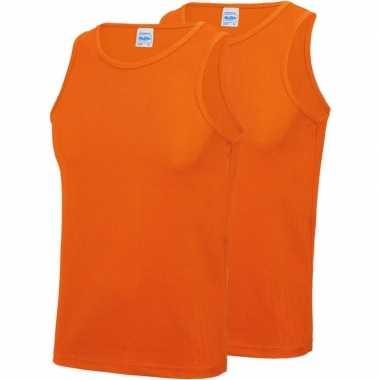 Pack maat s sport singlets/hemden oranje heren zonder mouw