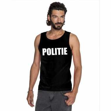 Politie tekst singlet shirt/ t shirt zonder mouw zwart heren