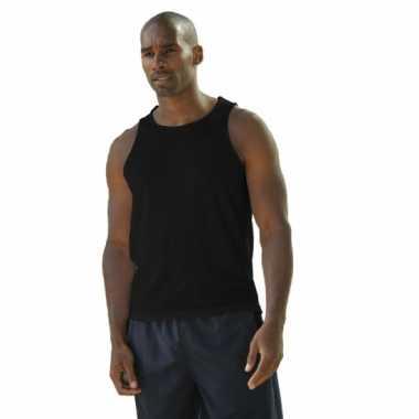 Polyester heren singlet zwart zonder mouw