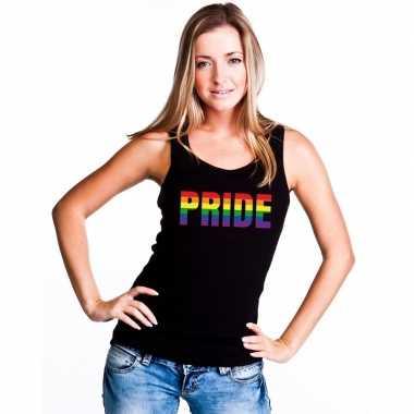 Pride regenboog tekst singlet shirt/ t shirt zonder mouw zwart dames
