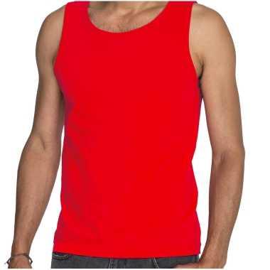 Rode t shirt zonder mouw / hemdje / singlet heren fruit of the loom