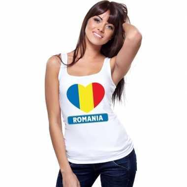 Roemenie hart vlag singlet shirt/ t shirt zonder mouw wit dames