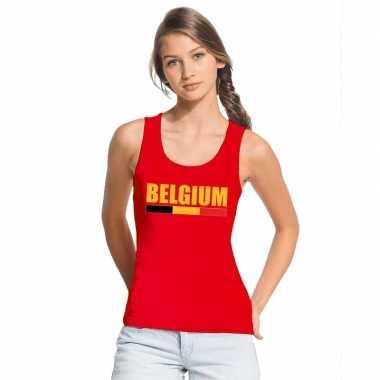 Rood belgium supporter singlet shirt/ t shirt zonder mouw dames