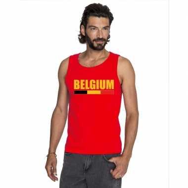 Rood belgium supporter singlet shirt/ t shirt zonder mouw heren