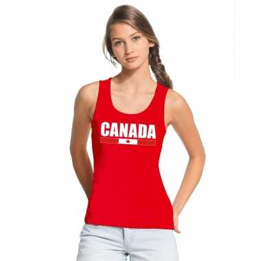 Rood canada supporter singlet shirt/ t shirt zonder mouw dames
