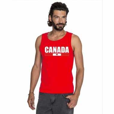 Rood canada supporter singlet shirt/ t shirt zonder mouw heren