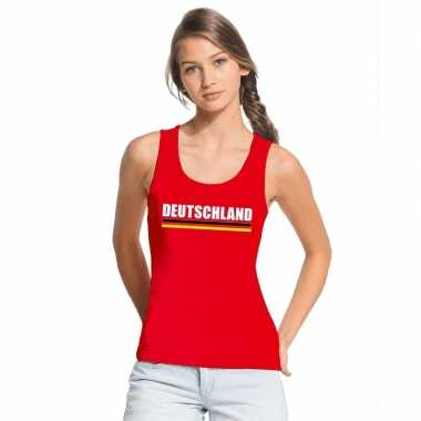 Rood duitsland supporter singlet shirt/ t shirt zonder mouw dames