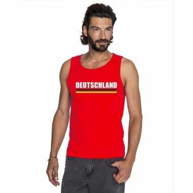 Rood duitsland supporter singlet shirt/ t shirt zonder mouw heren