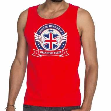 Rood engeland drinking team t shirt zonder mouw / mouwloos shirt here