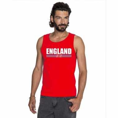 Rood engeland supporter singlet shirt/ t shirt zonder mouw heren