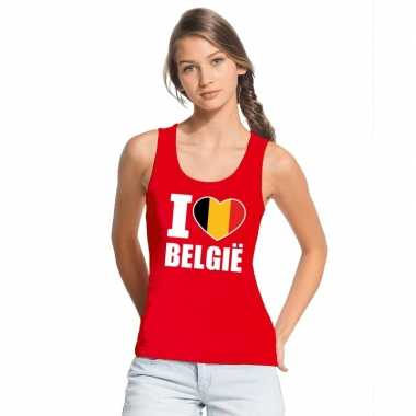 Rood i love belgie fan singlet shirt/ t shirt zonder mouw dames