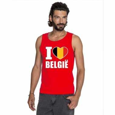 Rood i love belgie fan singlet shirt/ t shirt zonder mouw heren