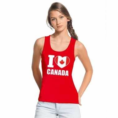 Rood i love canada fan singlet shirt/ t shirt zonder mouw dames