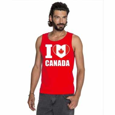 Rood i love canada fan singlet shirt/ t shirt zonder mouw heren