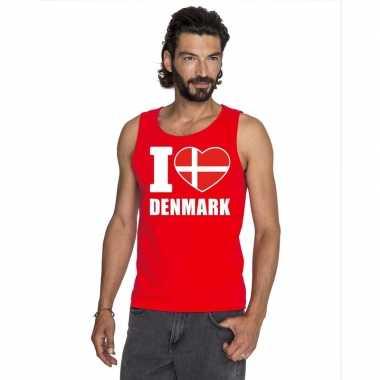 Rood i love denemarken fan singlet shirt/ t shirt zonder mouw heren