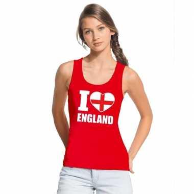 Rood i love engeland fan singlet shirt/ t shirt zonder mouw dames