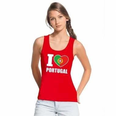 Rood i love portugal fan singlet shirt/ t shirt zonder mouw dames