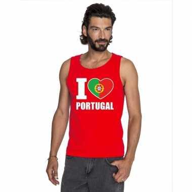 Rood i love portugal fan singlet shirt/ t shirt zonder mouw heren