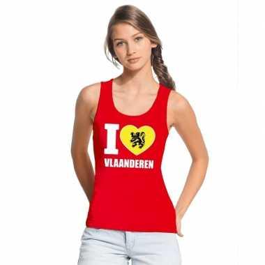 Rood i love vlaanderen t shirt zonder mouw dames