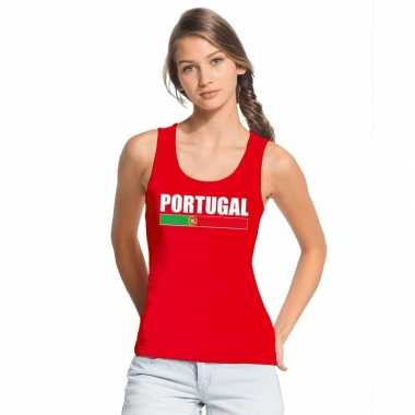 Rood portugal supporter singlet shirt/ t shirt zonder mouw dames