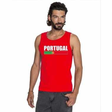 Rood portugal supporter singlet shirt/ t shirt zonder mouw heren