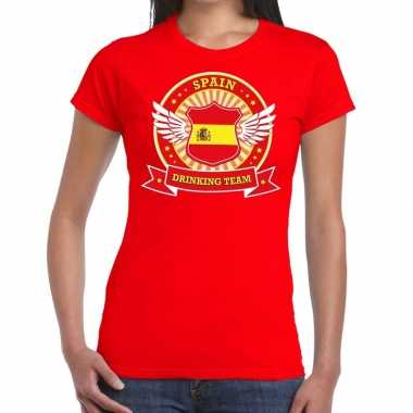 Rood spain drinking team t shirt dames zonder mouw