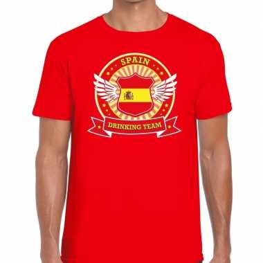 Rood spain drinking team t shirt heren zonder mouw